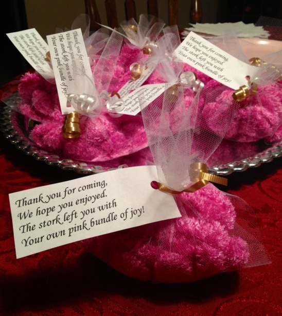 Baby shower mitten favors